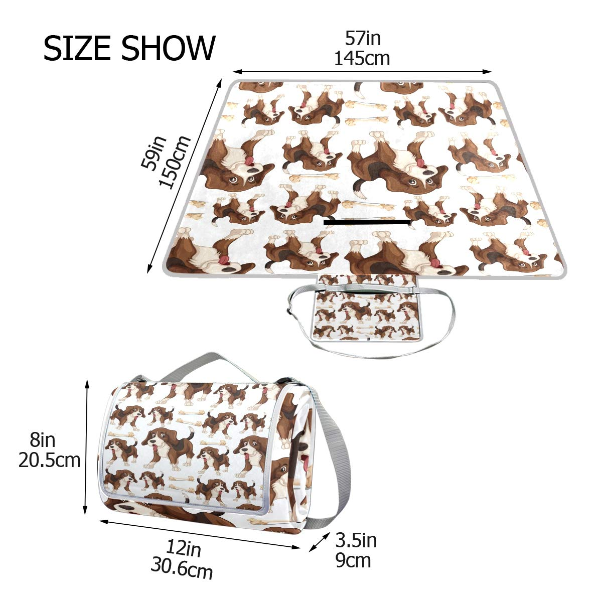 Bennigiry Beagle Dog Picnic Blanket Mat Extra Large Foldable and Waterproof Family Camping Mat for Outdoor Beach Hiking Grass Travel