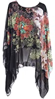 Century Star Womens Fashion Printed Crew Neck Batwing Sleeve Tee Loose Chiffon Blouse Soft Top Poncho