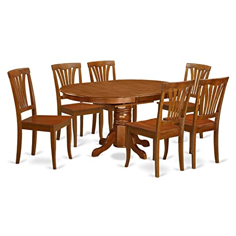 East West Furniture AVON7 SBR W 7 Piece Dining Table Set, Saddle