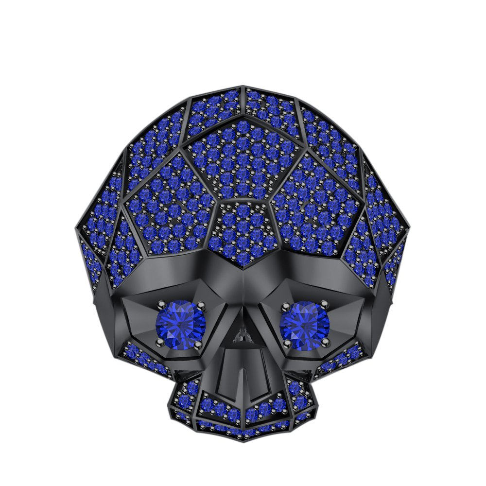 RUDRAFASHION Men's & Women's 14K Black Gold Plated 3.80 ctw Created Blue Sapphire Half Jaw Skull Ring