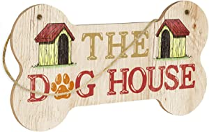 Putuo Decor Funny Dog Sign, Bone Shape Decorative Plaque with Hanging Rope, 8.3x4.3 Inches Gift for Pet Lovers - The Dog House