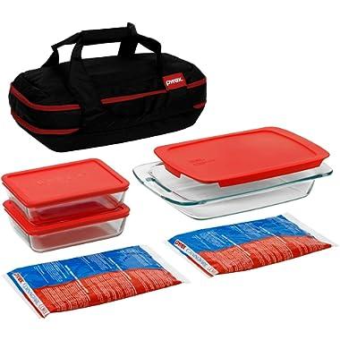 9-Piece Dishwasher-Safe Portable Double Decker Set with Carrier, Glass, Black