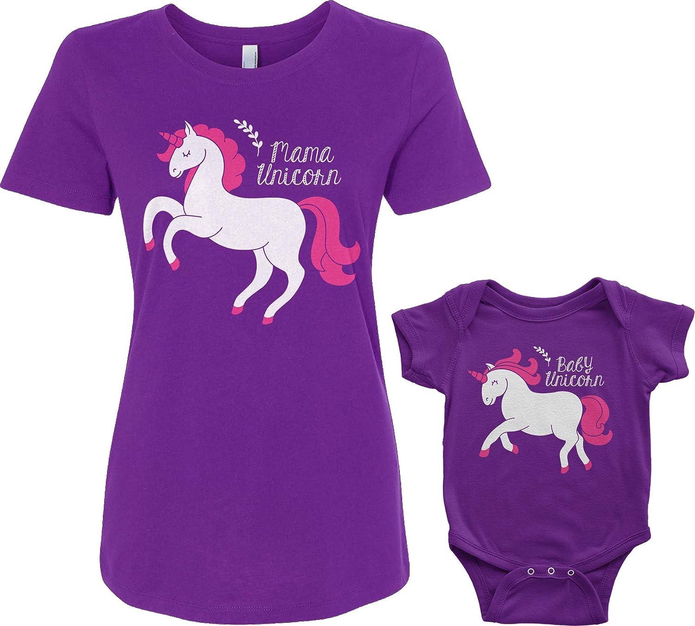 Mama /& Baby Unicorn Infant Bodysuit /& Womens T-Shirt Matching Set Baby: 6M, Purple Womens: L, Purple