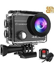 Crosstour Action Cam 4K 16MP WiFi Sports Kamera Helmkamera 40M Wasserdicht Unterwasserkamera mit externem Mikrofon Anti-Shaking mit 2 Akkus und kostenlose Accessoires