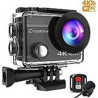 Crosstour CT8500 Unterwasserkamera Action Cam 4K (16MP WiFi Unterwasser 40M Wasserdicht Anti-Shake Helmkamera Fernbedienung und Externes Mikrofon), Schwarz