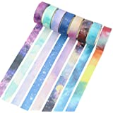 Molshine Set of 8 Japanese Washi Masking Tape, Sticky Paper Tape for DIY, Decorative Craft, Gift Wrapping, Scrapbook-- City of Sky Series(0.6inchx7.6yd)