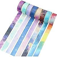 Molshine Set van 8 (15 mm x 7 m/rol) Japanse Washi Masking Tape, Galaxy Washi Tape, kleverige papieren tape voor doe-het…