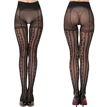Roiper Collants Résille Jacquard Collants Fils Net Lingerie Conjointe  Hollowness Lingerie sous-Vêtements Sexy Noirs 8c0dd2aacd2