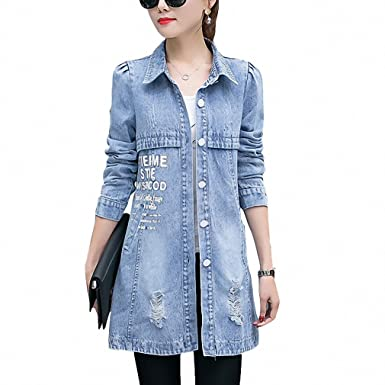Hot Sales Spring Denim Jacket Women NEW New Fashion Washing Frayed Long Slim Jeans Jackets Coat
