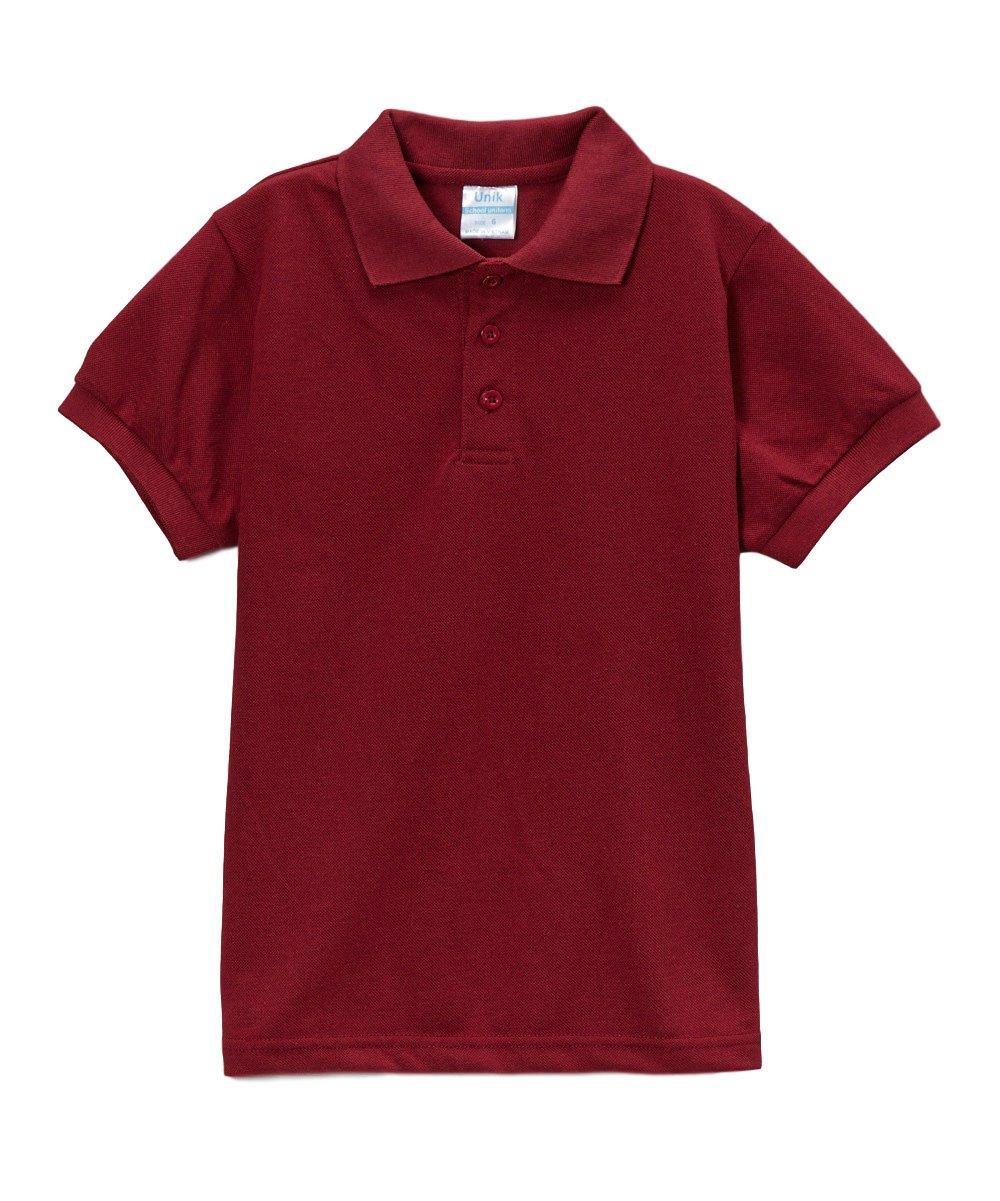 unik Boy's Uniform Pique Polo Shirt Short Sleeve, Burgundy Size 12
