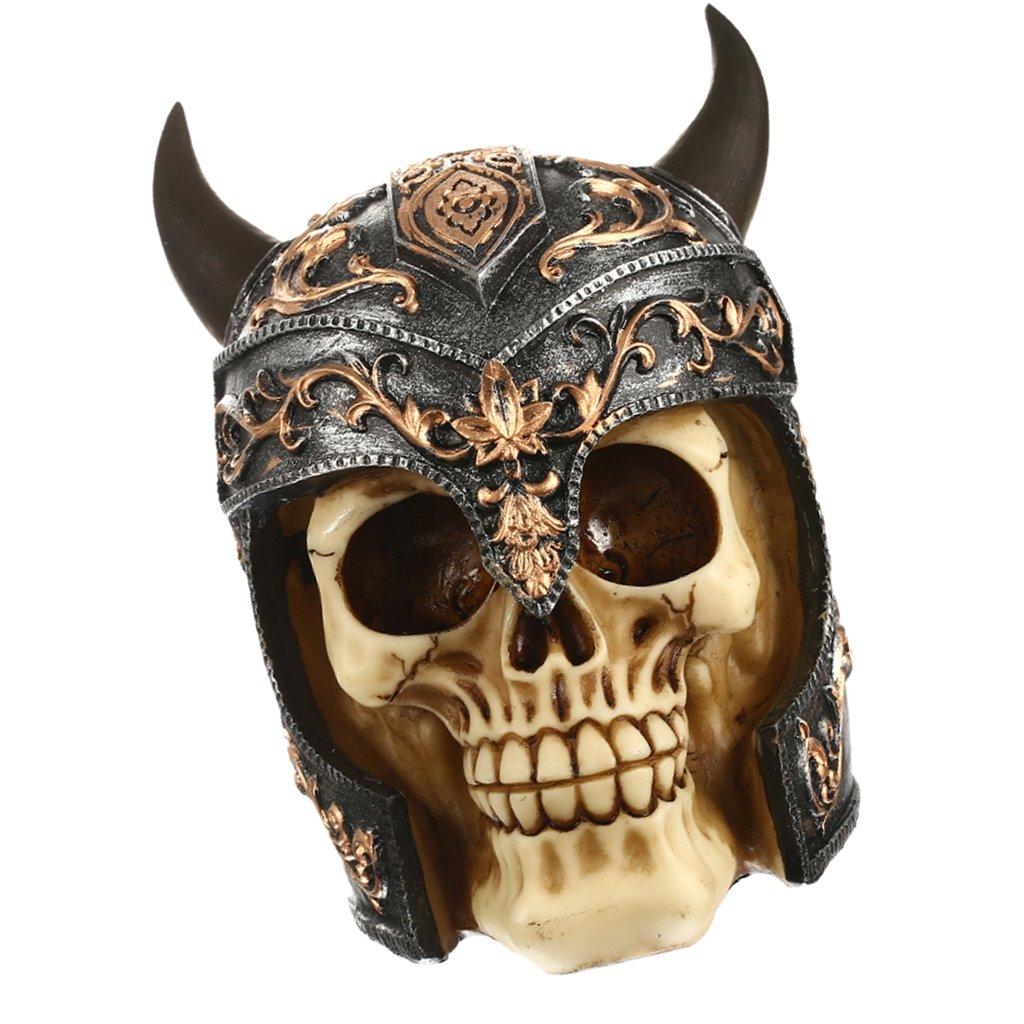 MagiDeal 3D Gothic Cranio Sculture Resina Teste Soprammobili Mestiere Decorazione Casa Bar