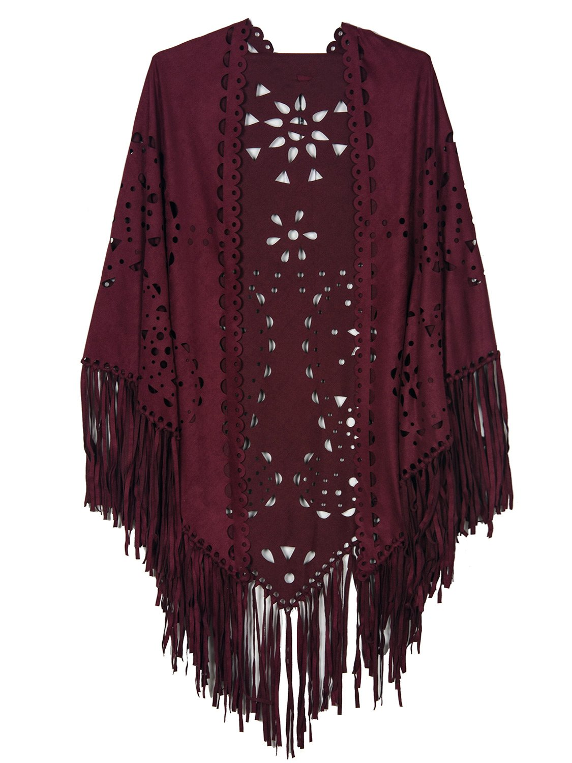 Women's Suedette Laser Cut Fringed Cape Shawl Triangle Wrap Scarf by PERSUN