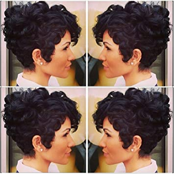 Beisd Short Curly Black Wig Curly Synthetic Wigs For Black Women Natural Short Hair Wigs For Women