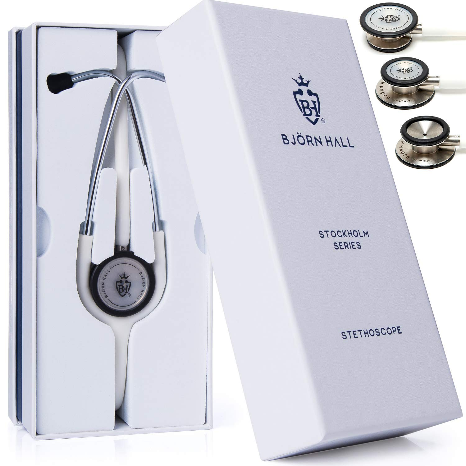 BJÖRN HALL Lightweight Stethoscope | Stainless Steel Dual Head Chestpiece, Turnable Diaphragm, Bell, Soft Eartips | Designer Stethoscope Perfect Gift for Doctors, Nurses, EMT, Veterinarian & Students
