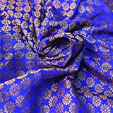 Shopolics Royal Blue and Golden Small Flower Pattern Brocade Silk Fabric-8238 For Party Wear, Dress Material, Fabric (1 Yard)