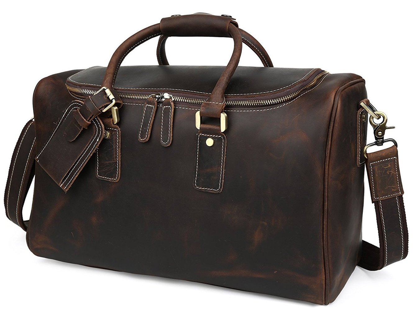 BAIGIO Men's Vintage Leather Travel Duffel Overnight Weekend Bag Tote Luggage (Dark Brown)