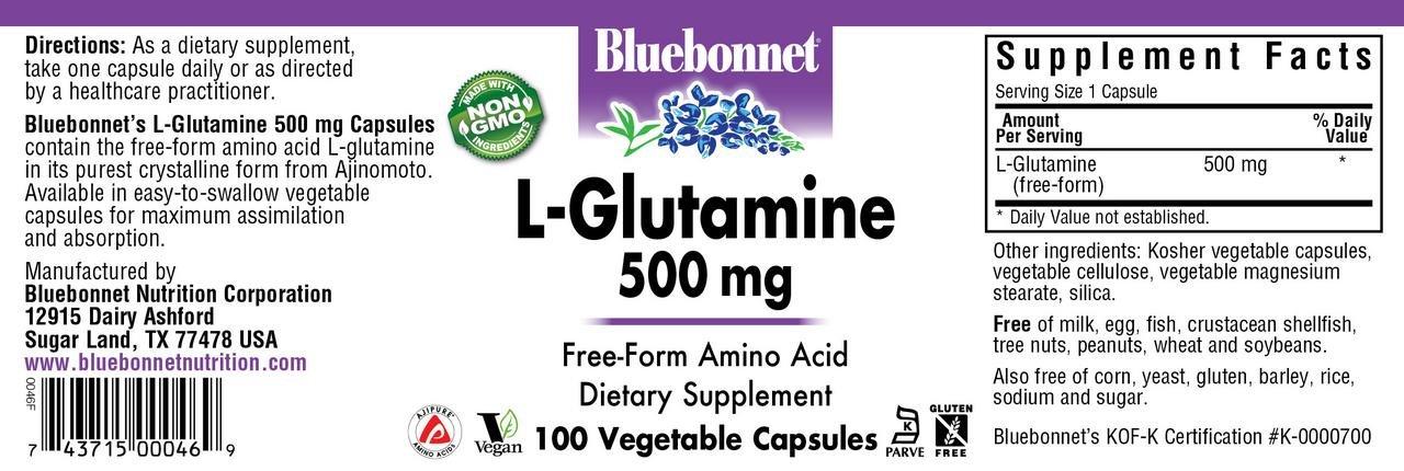 Bluebonnet L-Glutamine 500 Mg Vitamin Capsules, 100Count by Bluebonnet