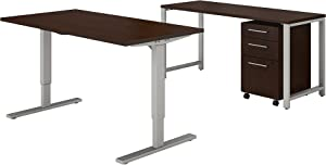 Bush Business Furniture 400 Series 60W x 30D Height Adjustable Standing Desk with Credenza and Storage in Mocha Cherry