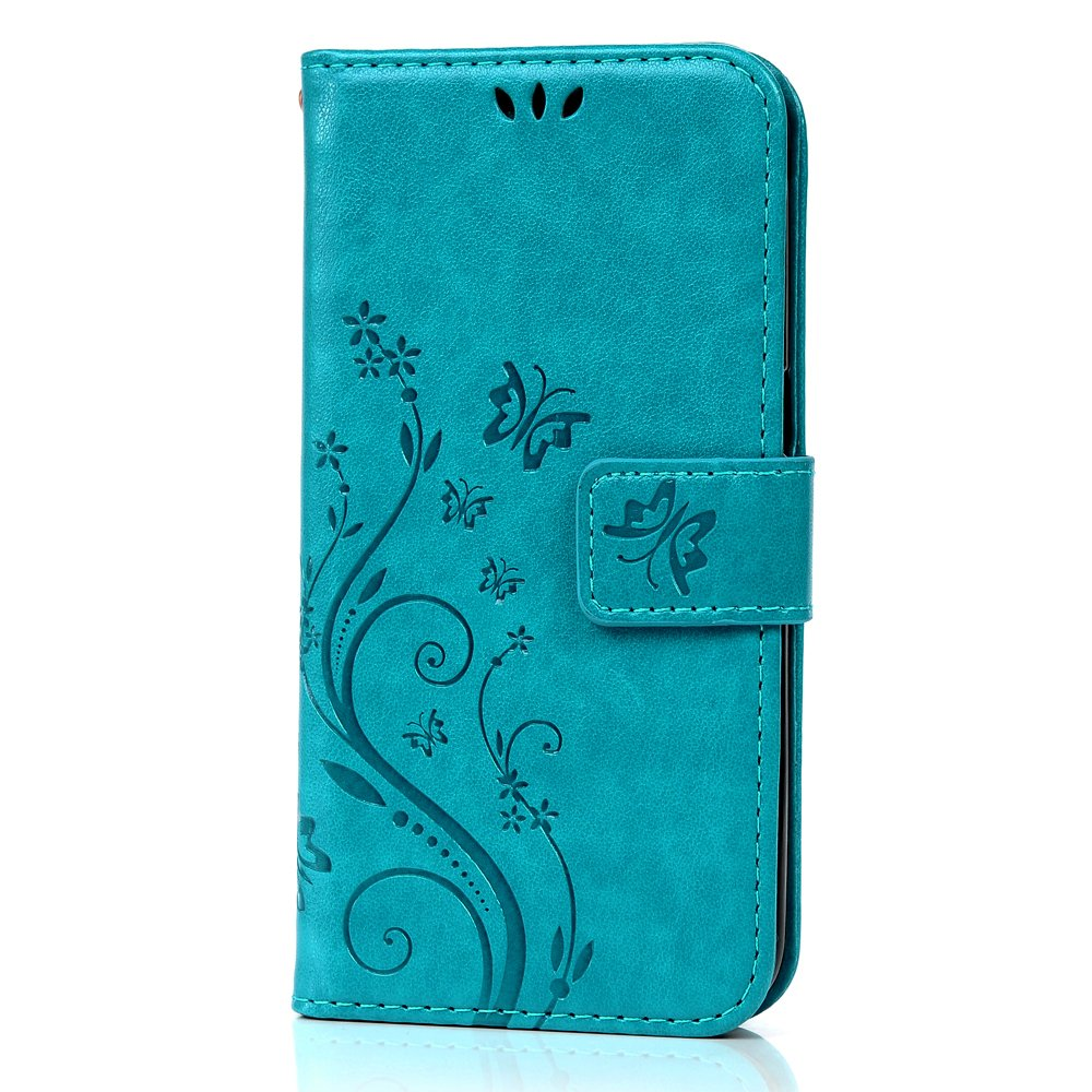 Galaxy S7 Case (NOT Galaxy S7 Edge) - MOLLYCOOCLE Blue Butterfly PU Leather Wallet Purse Credit Card ID Holders Design Flip Folio TPU Soft Bumper Clear Ultra Slim Fit Cover Samsung Galaxy S7