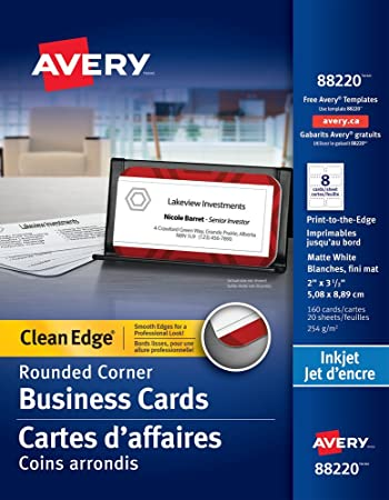 Amazon avery two side printable clean edge rounded corner avery two side printable clean edge rounded corner business cards for inkjet printers white reheart Image collections