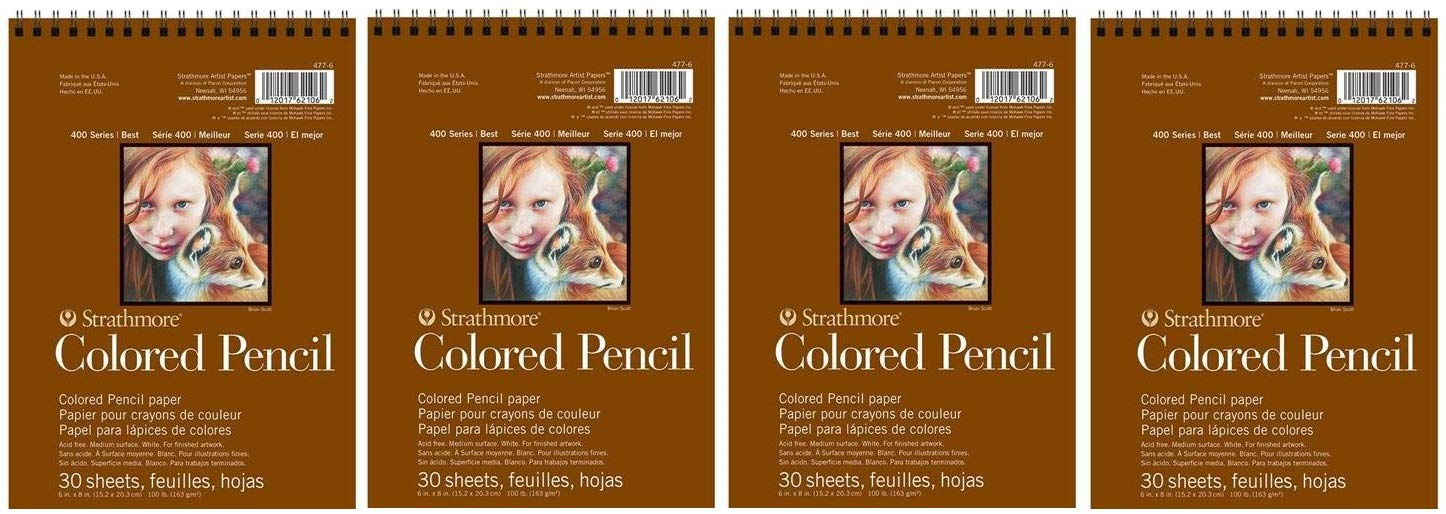Strathmore 400 Series Colored Pencil Pad, 6''x8'' Wire Bound, 30 Sheets (Fоur Расk)