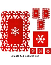 Snow White POLY FELT RED CHRISTMAS SNOW FLAKE PLACE MAT SET. PB, 8PC