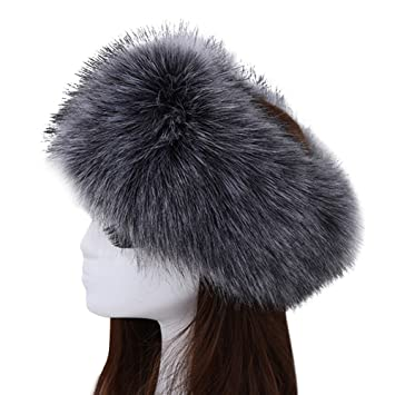 Image Unavailable. Image not available for. Color  Women s Luxurious Faux  Fur Headband Elastic Warm Earmuff Snow Headwrap Hat ... 8da1e5009393