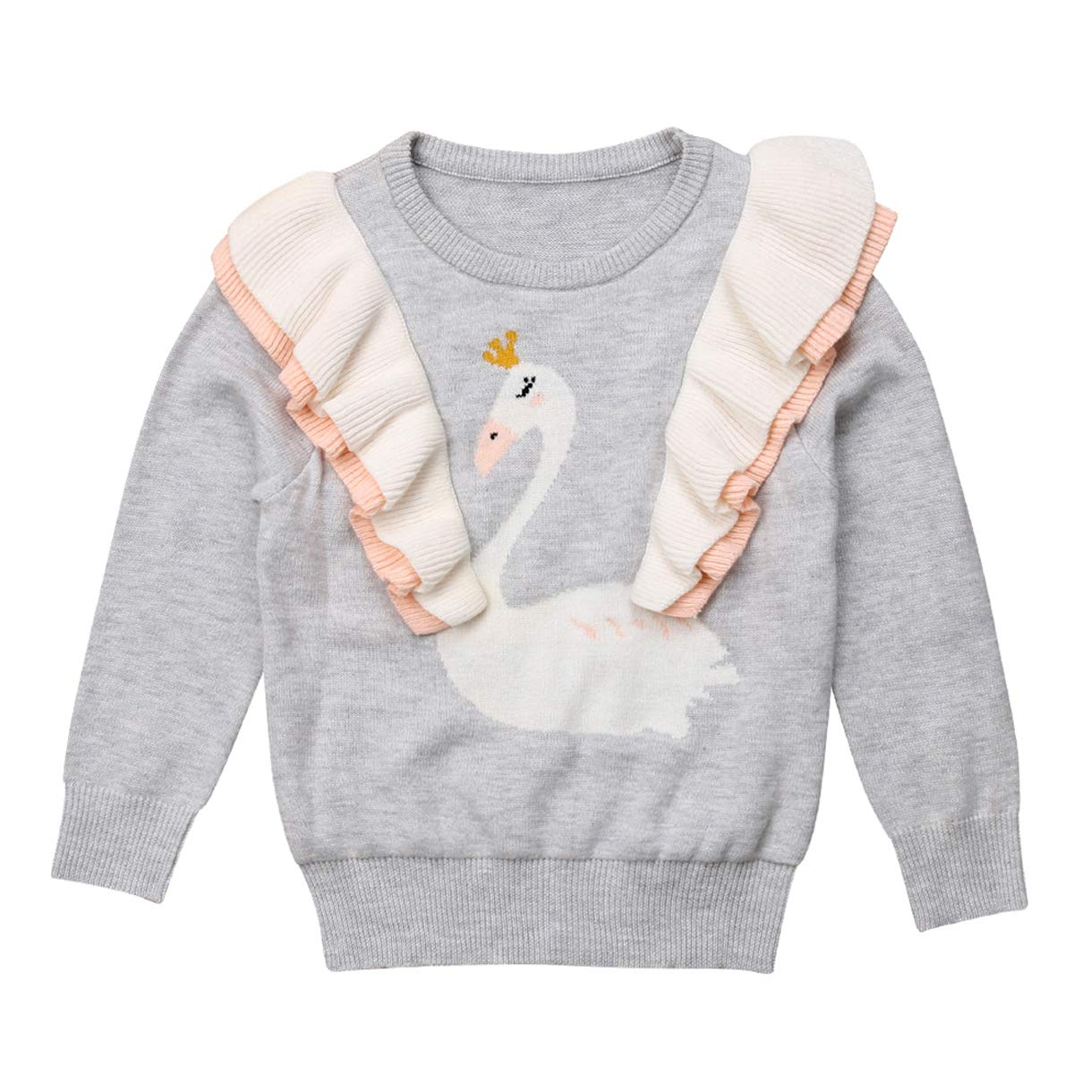 Canis Toddler Kids Baby Girls Long Sleeve Swan Ruffles Pullover Knit Sweater Tops