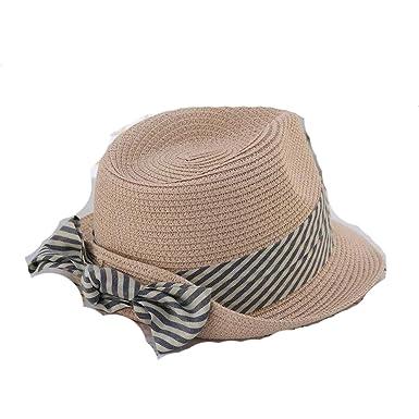 Amazon.com: Moda verano mujeres paja de ala plana británico ...