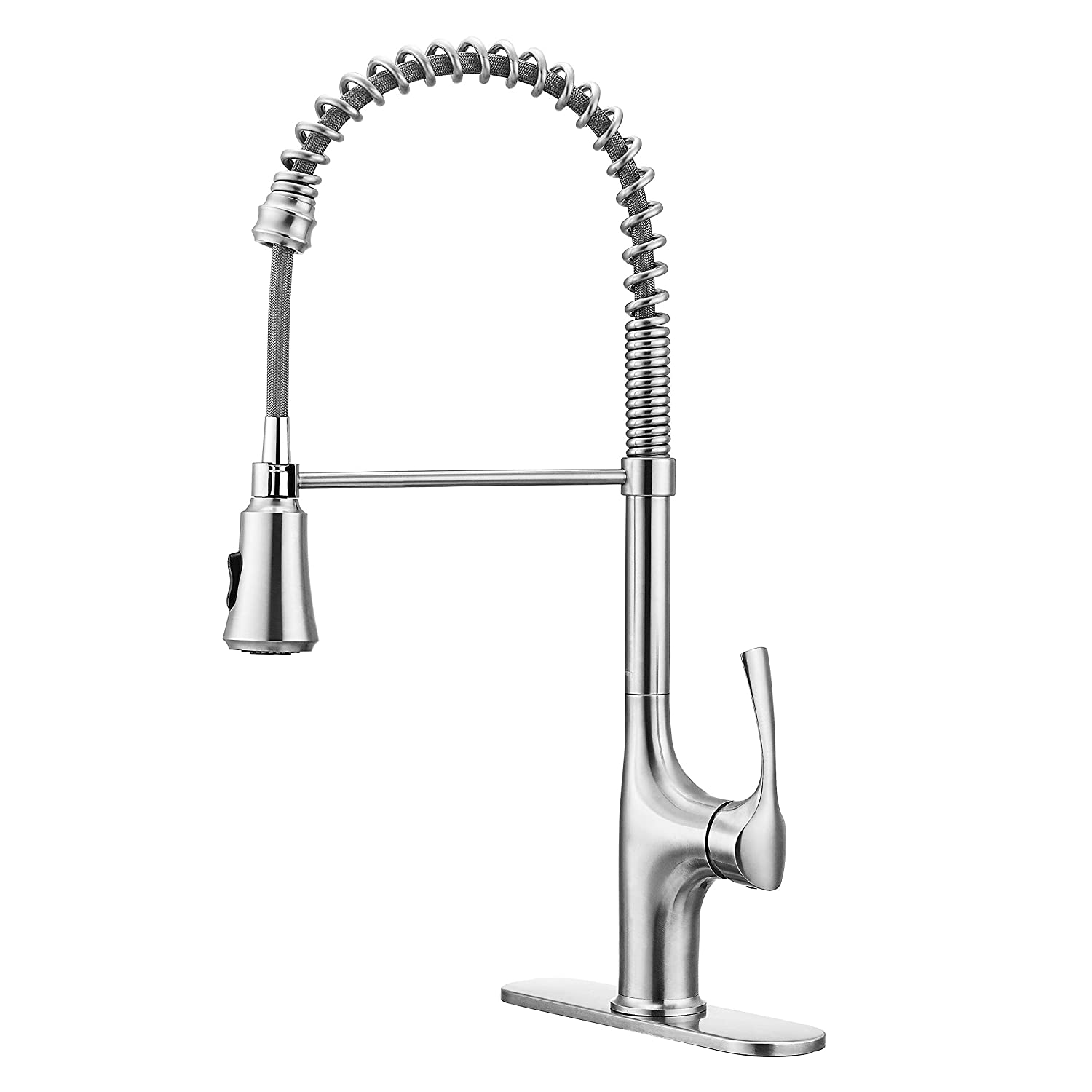 Primy Replacement Kitchen Faucet with Pull Down Sprayer, 23-1 2 Height Commercial Pre-Rinse Faucet, Modern High-Arc with Single Handle and Deck Plate, Heavy Duty Stainless Steel, Lead-Free