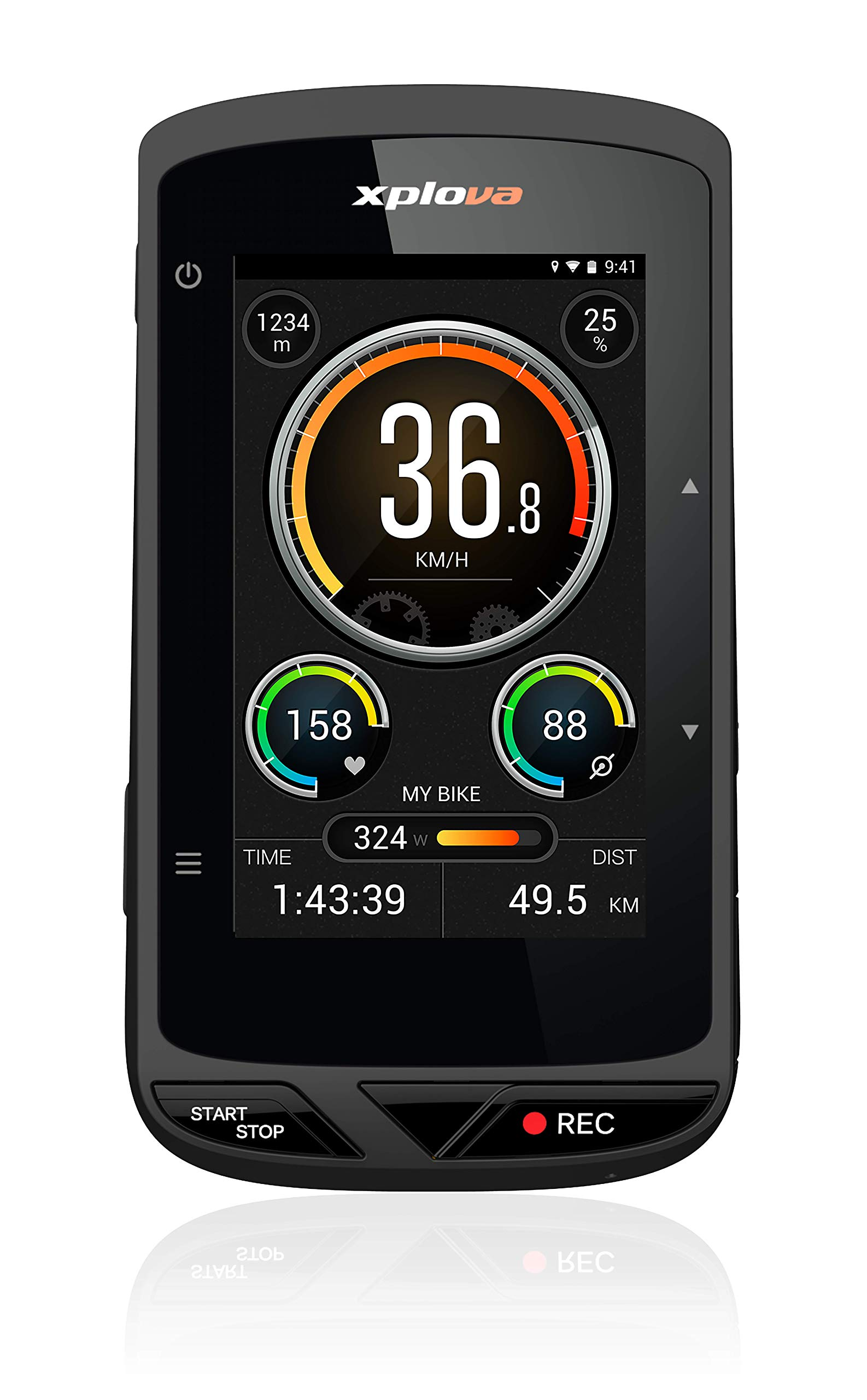 XPLOVA X5 Evo GPS Cycling Computer with Dash Cam - Bike Computer with 3'' Touchscreen Color Display - Bike GPS Route Planning OSM Free Worldwide Map - 120 Degree Wide-Angle Bike Action Camera - Ant+ by XPLOVA