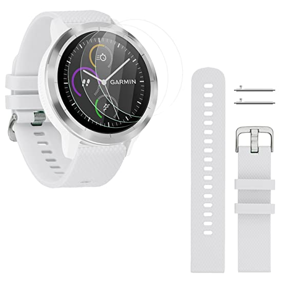 Rukoy 20mm Strap Replacement and 3-Pack Tempered Glass Screen Protectors for Garmin Vivoactive 3 Smartwatch (White, Small)