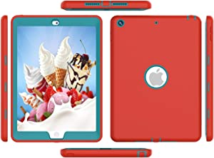 trendmart Ipad case 4th Generation, Ipad 3 Gen Case, High-Impact Shock Absorbent Silicone Hard Plastic Dual Layer Protective Case for IPad 2/3/4 Gen Models A1458 A1430 A1416 Red Blue
