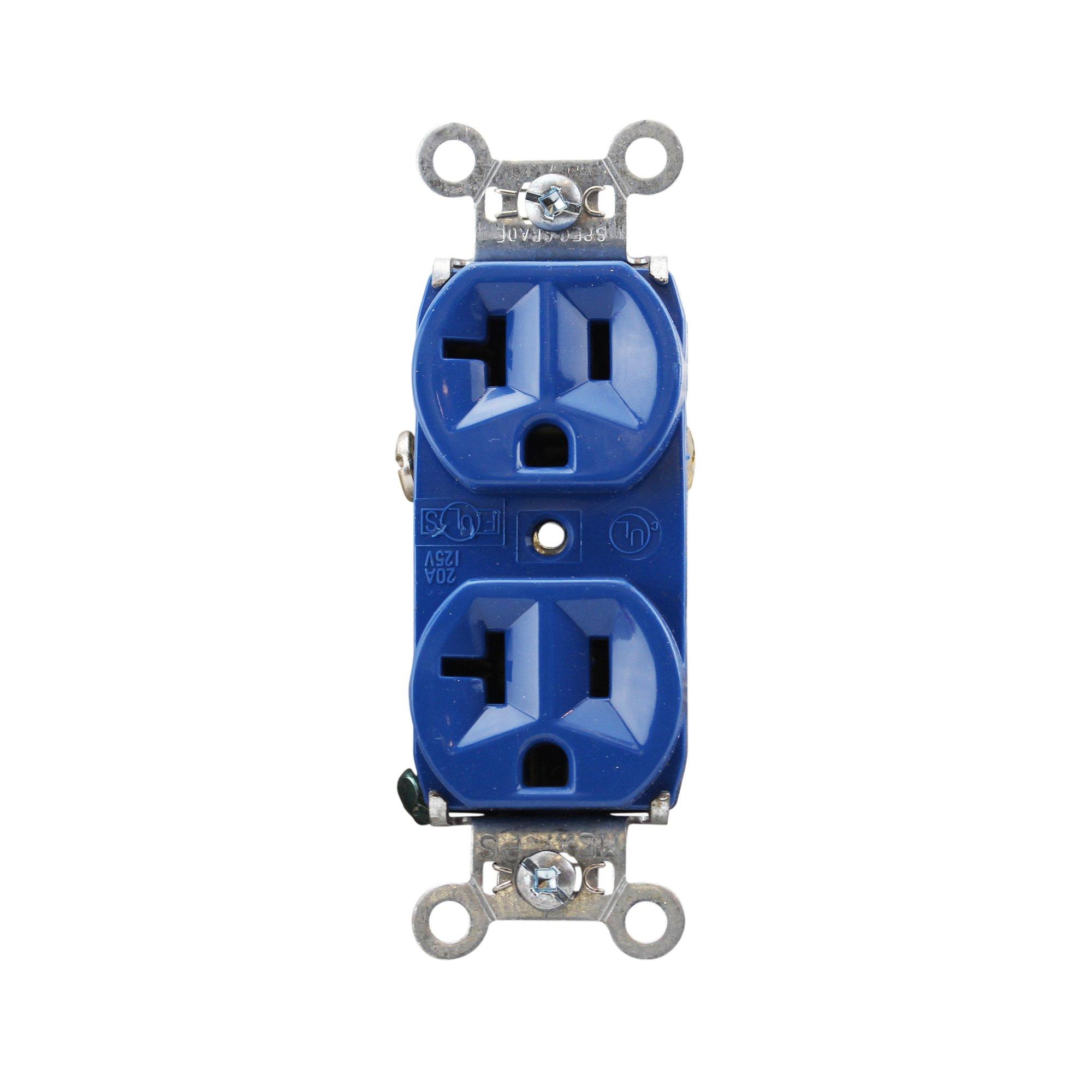 Pass & Seymour 5362-BL Duplex Receptacle Industrial Spec 20A 125V, Blue (10 Pack)