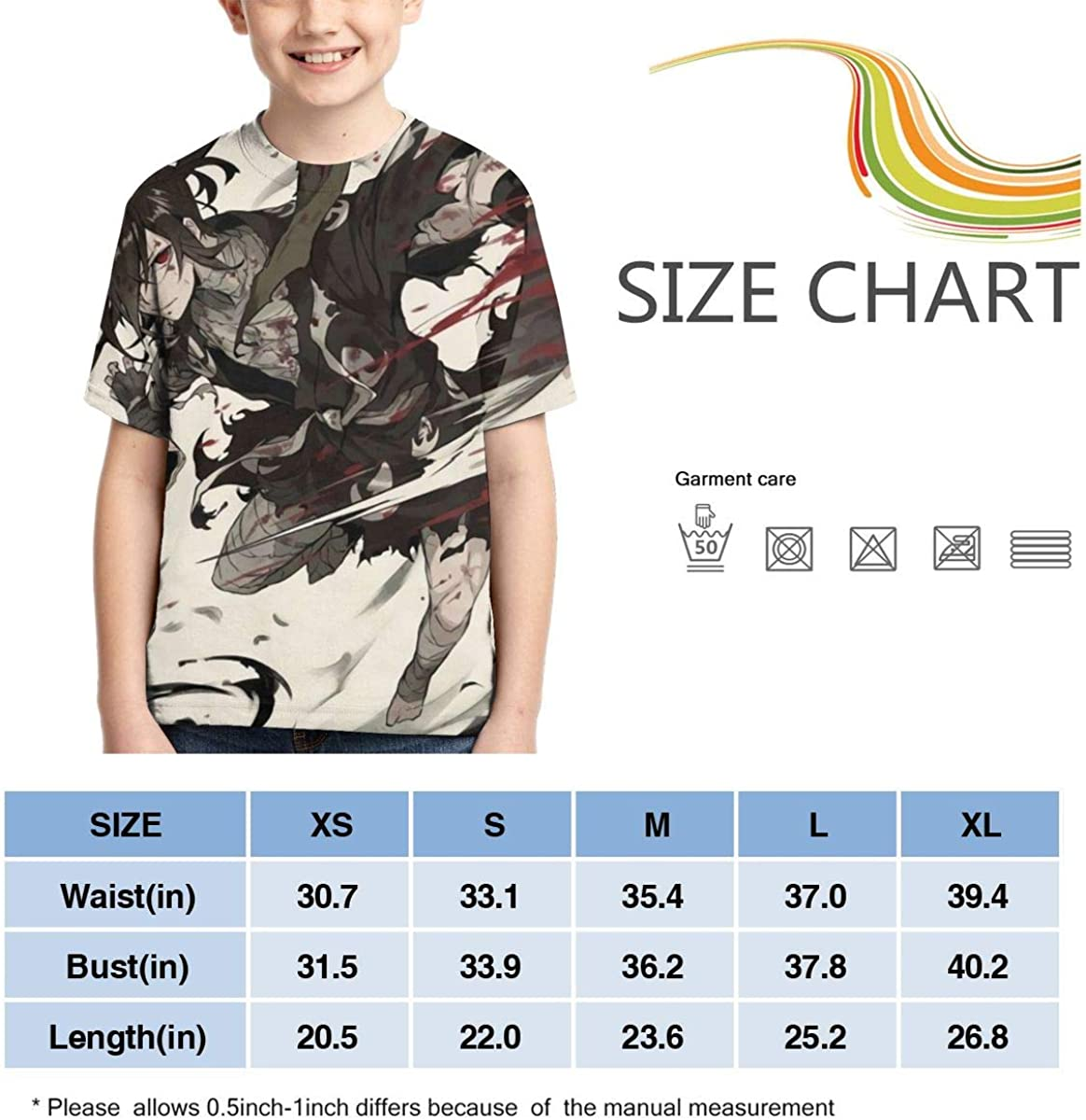 Other1 Dororo Bloody Teens Crew Neck Sweat-Absorbent Breathable Sports Short-Sleeved Summer Boys T-Shirt
