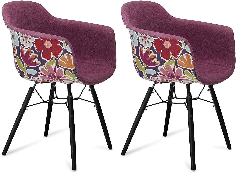 Furnhouse Moderne Scandinave Rétro Vintage Design Chaise de salle à manger Flame, Violet Tissu, Hêtre Bois, Métal Noir Pieds, Lot de 2, 59x57x80