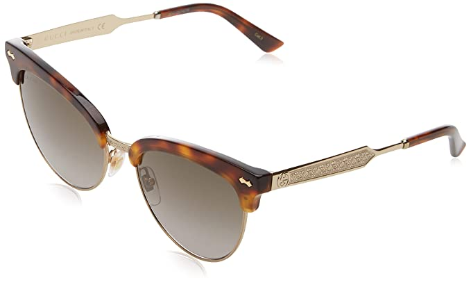 537bfca094e Image Unavailable. Image not available for. Color  Gucci GG0055S Sunglasses  002 Havana Gold   Brown ...