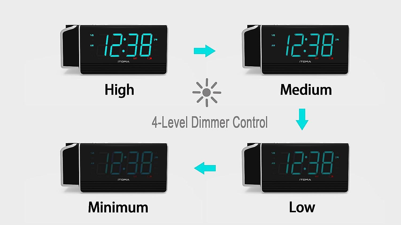 dimmer automatico e manuale Allarme di proiezione luce notturna radio sveglia iTOMA FM con doppio allarme indicatore LED Ice Blue da 1,8 CKS509 ricarica USB radio FM digitale