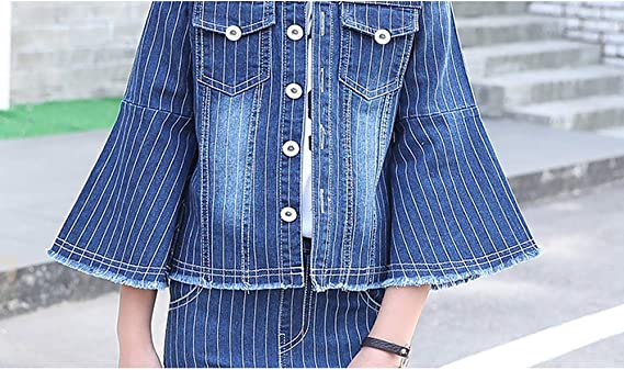 Tuzama Girls Flared Denim 2 Piece Suit Striped Clothing Set Bell Bottom Outfits 3-13 Y