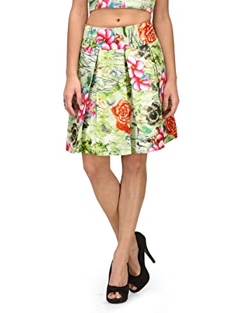 d2b5561bc2 XOXO Green Floral Short Pleated Skirt: Amazon.in: Clothing & Accessories