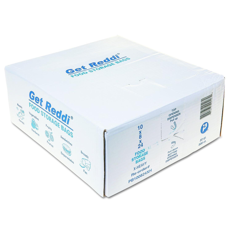 Inteplast Group PB100824XH Get Reddi Food & Poly Bag, 10 x 24, 22-Quart, 1.20 Mil, Clear (Case of 500)