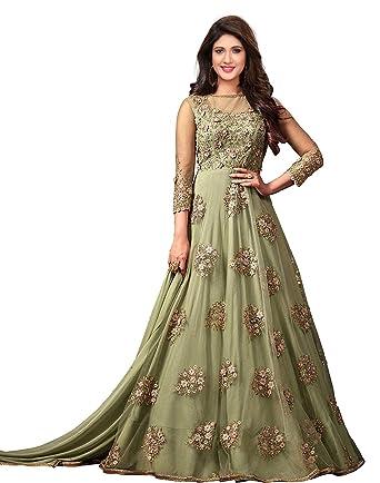 4fa585cb7c52 Royal Export Women s Net A-line Long Party Wear Salwar Suit (green