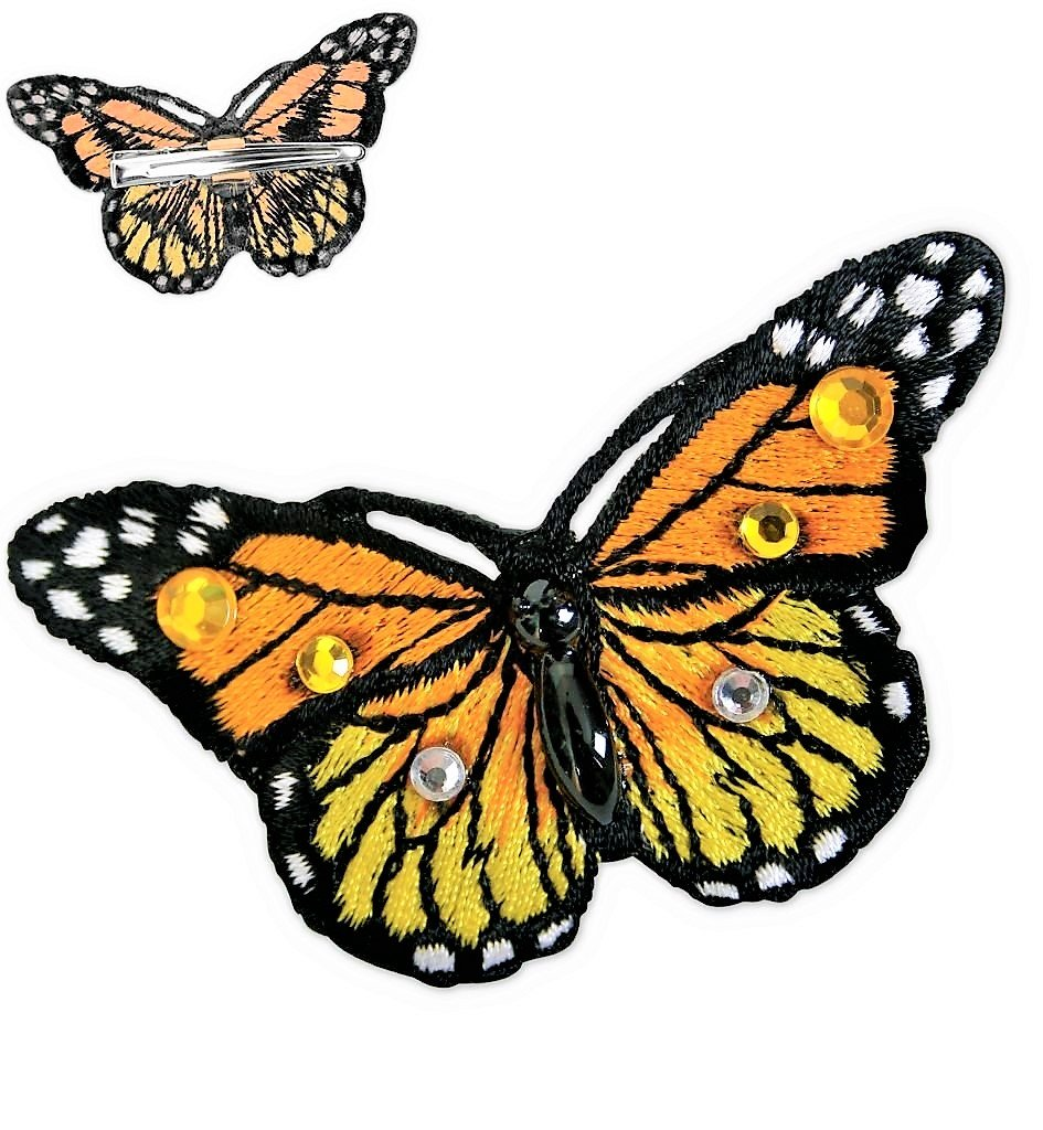 Haarclip mit Schmetterling Farbe orange Haarklammer