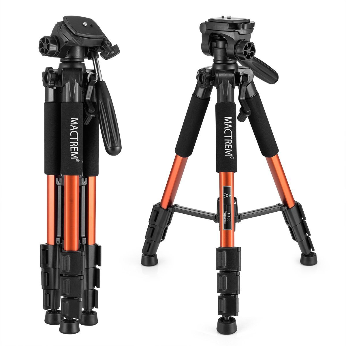 Camera Tripod Lightweight Portable Travel Tripod Aluminum Camcorder Stand MACTREM 55-Inch with Bag for DSLR Nikon Canon Sony Olympus Fuji Pentax Lumix DV Video (Orange)