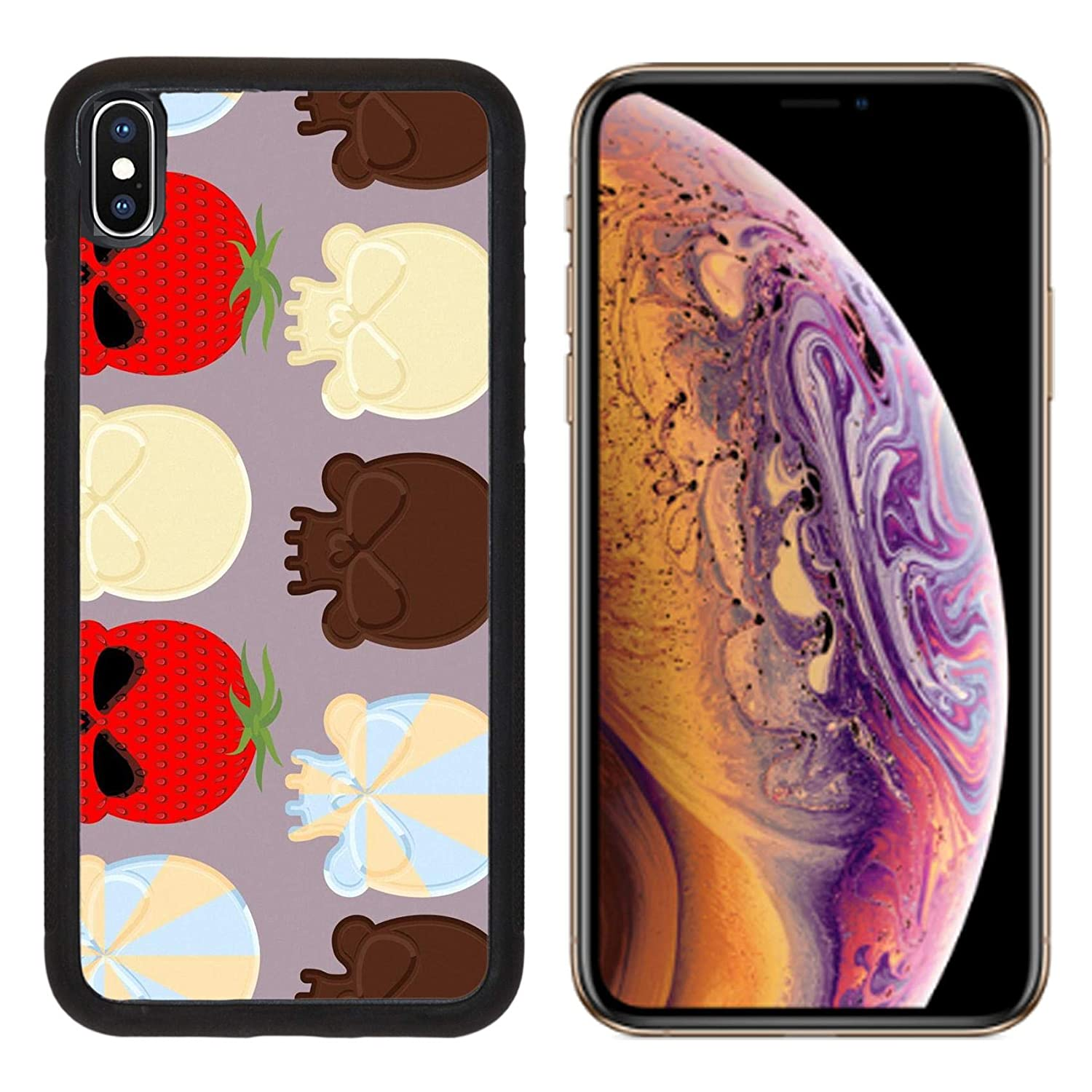 Luxlady Apple iPhone Xs Case Aluminum Backplate Bumper Snap Cases ID: 43128818 Sweet Candy Skulls Seamless Pattern Head Skeleton Made of Chocolate and strawb
