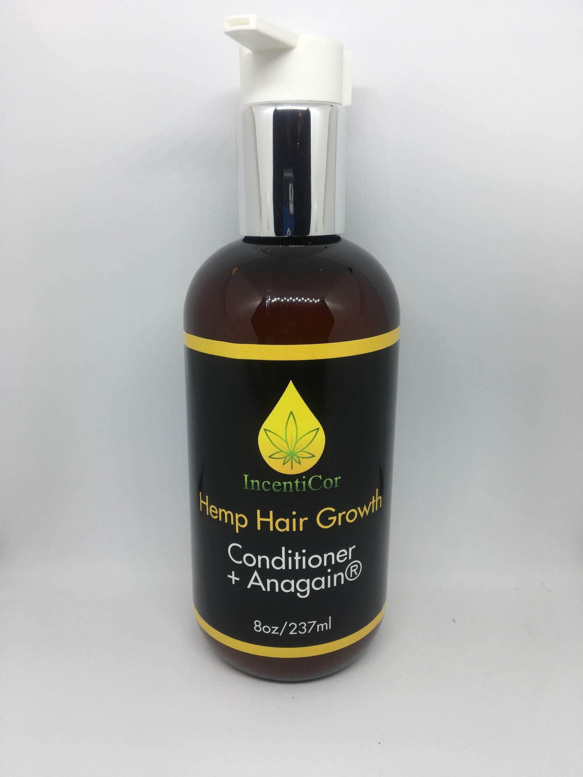 Incenticor-Hemp Oil Hair Regrowth Conditioner + Anagain 50mg   For Thicker Fuller Hair   Reactivates Hair Growth In Men and Women - 8oz