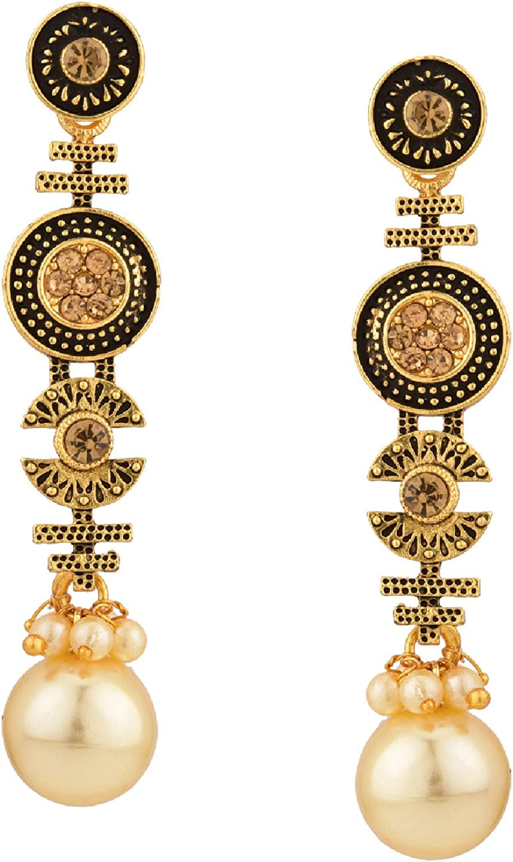Efulgenz Boho Vintage Antique Ethnic Gypsy Tribal Indian Pearl Oxidized Gold Silver Dangle Drop Earrings Set of 2