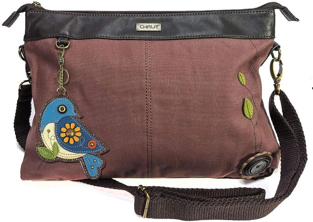 Chala Canvas Convertible Tote- Crossbody Or Shoulder Handbags with Chala Key Fob- Mauve