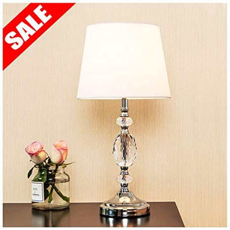 Popity home Decorative Chrome Living Room Bedside Crystal Table Lamp ...