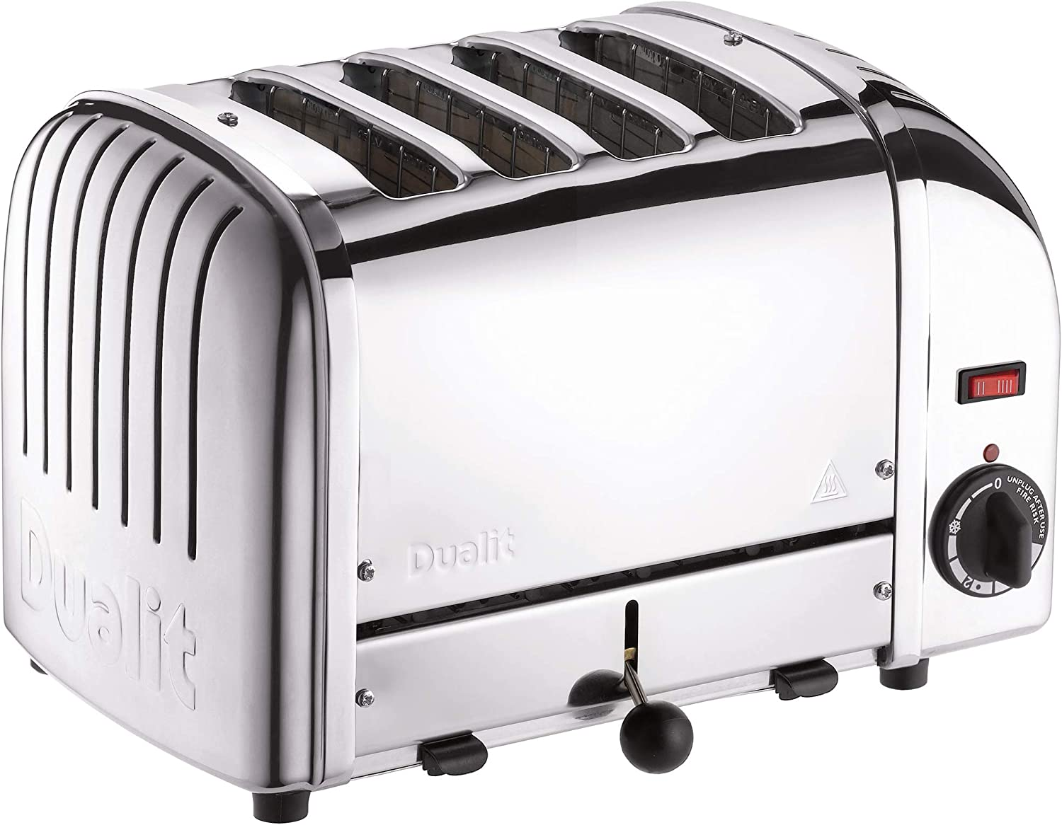 Dualit Classic 4 Slice Vario Toaster - Stainless steel, hand built in the UK - Replaceable ProHeat® elements - Heat two or four slots, defrost bread, mechanical timer - Replaceable parts